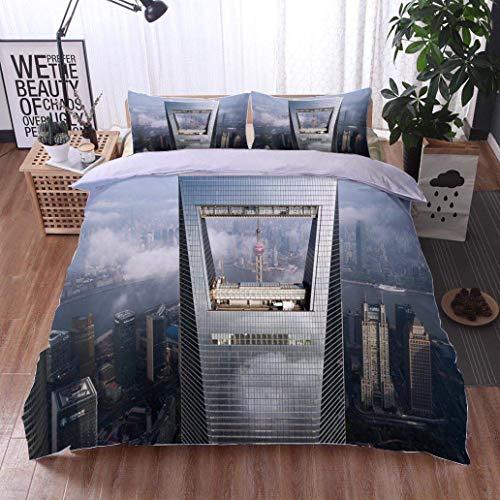 VROSELV-HOME 3 PCS King Size Comforter Set,Shanghai World Financial Center,Soft,Breathable,Hypoallergenic,Luxury Decor Bedding Set 1 Duvet Cover 2 Pillow -