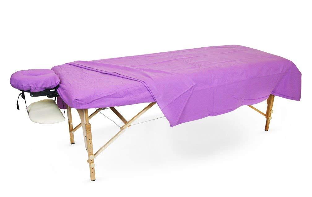 SPA Massage Table Flannel Sheets 3 Pieces Set 100% Cotton (Lavender)