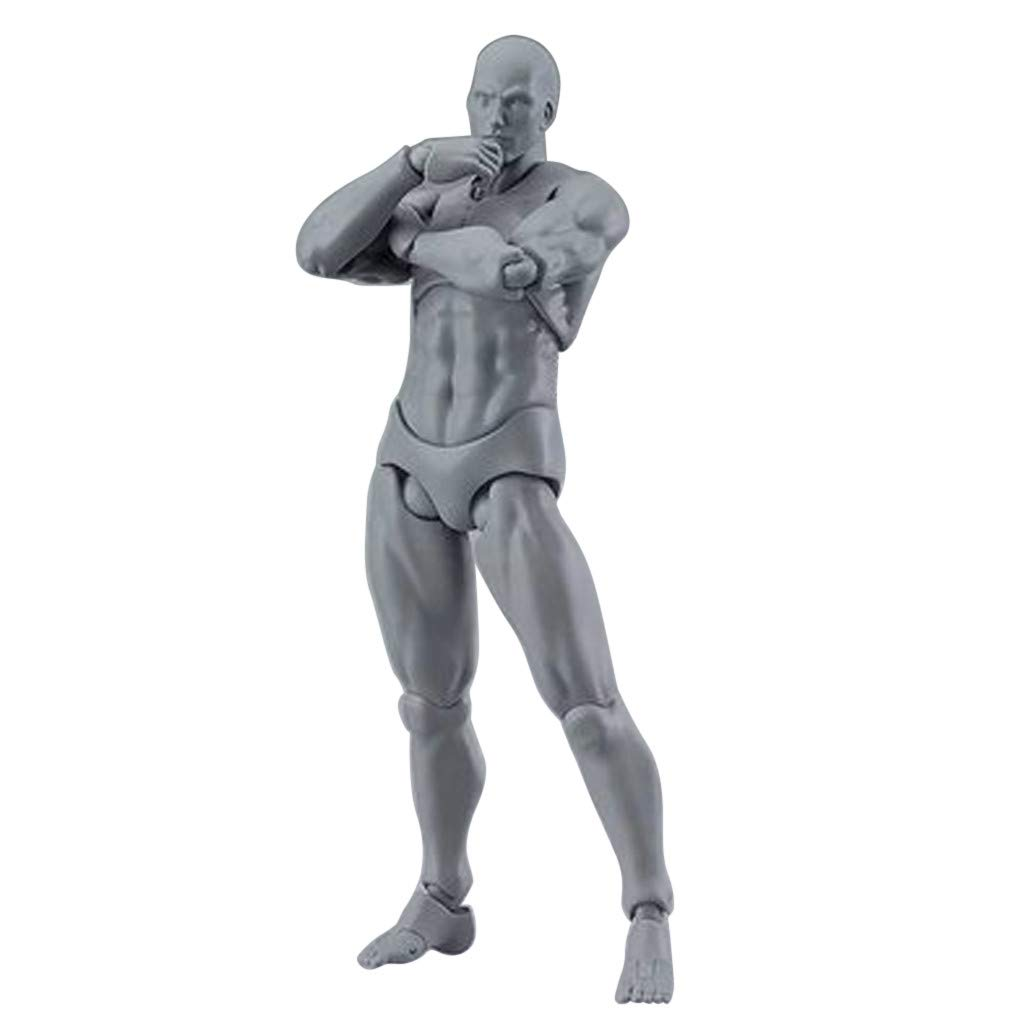 Artists Manikin Blockhead Jointed Mannequin Drawing Figures for Figure Model Male+Female Set Skin Colored Version BYIA Body Kun Doll