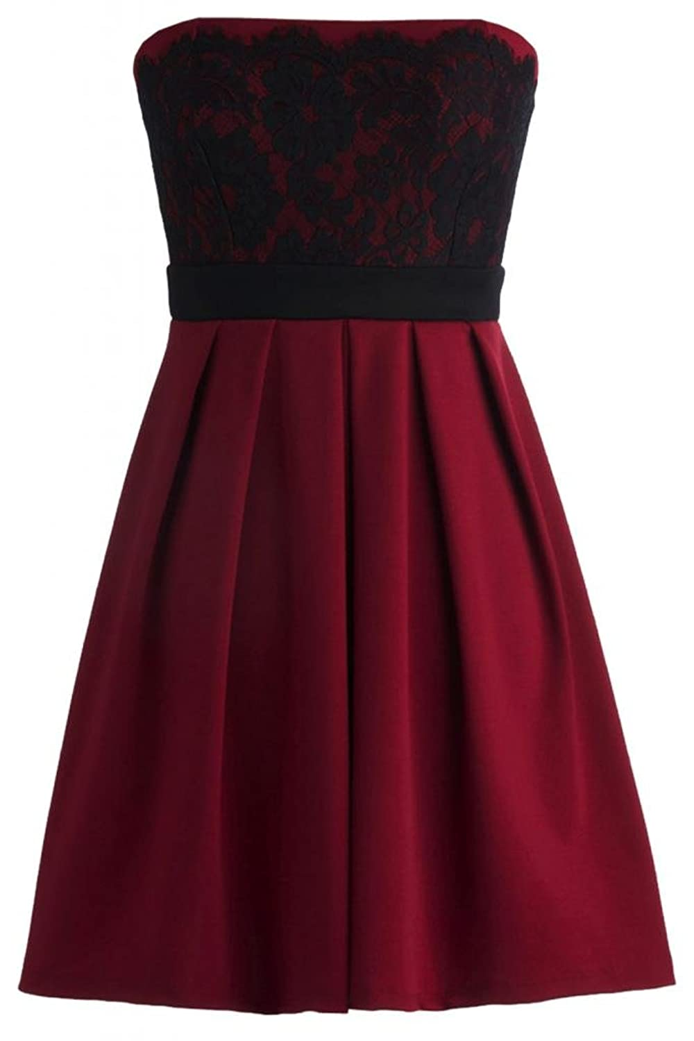 Sunvary Charming Satin A-Line Strapless Short Lace Cocktail Homecoming Dresses