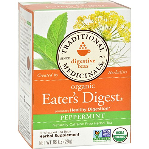 Traditional Medicinals Eater s Digest - Caffeine Free - Case of 6 - 16 Bags - 95%+ Organic -