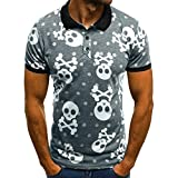 FeiBeauty Summer Men's Plus Size Polo Shirt, Skull Printed Short Sleeves Button Down Casual Lapel Blouse Top T-Shirt Polo for Men