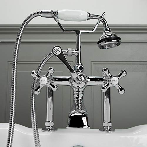 - Clawfoot Tub Rim Mount English Telephone Faucet with Handshower (Chrome)