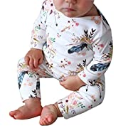 Sunbona Toddler Baby Boys Girls Floral Printed Long Sleeve Pajamas Romper Jumpsuit Headban Outfits Clothes (0~6months, White 1)