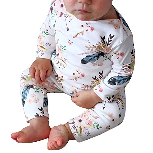 Sunbona Toddler Baby Boys Girls Floral Printed Long Sleeve Pajamas Romper Jumpsuit Headban Outfits Clothes
