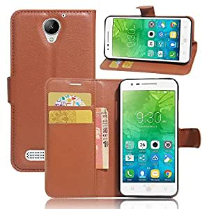 Lenovo Vibe C2 Power - PU Leather Wallet Flip Case Stand Card Holder Cover -Brown