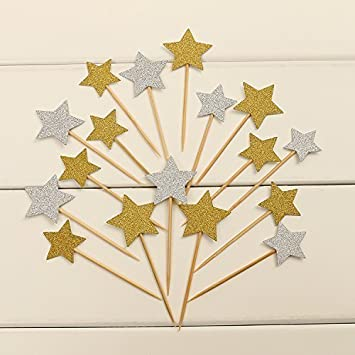50pcs cupcake topper gold glitter star cupcake toppers wedding bamboo fruit cocktail forks party finger food