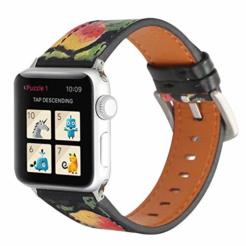 WonderKathy Compatible for Apple Watch Band Vintage Strawberry Pattern Stylish Soft Leather Band New Adapter Metal Clasp for Women for iWatch Series 3 2 1 Sport (Strawberry, 38mm) ()