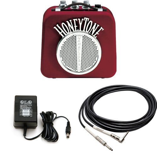 (Danelectro N10B Honey Tone Mini Amp in Burgundy With 9V power Adapter and 5-Foot Right Angle)