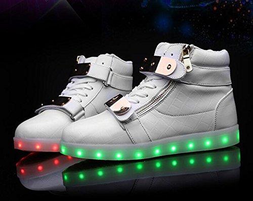 Zapatos Annabelz Led High Top Hombres Mujeres Light Up Zapatos Usb Carga Velcro Metal Slash Intermitentes Blanco