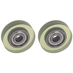 MroMax 2Pcs 3 x 15 x 4mm Roller Idler Bearing Pulley Sliding Conveyor Nylon Wheel for Furniture, Hardware Accessories, Mobile Door(Transparent)