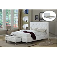 Kings Brand Furniture White Tufted Design King Size Upholstered Platform bed