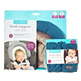JJ Cole - Head Support & Strap Cover Bundle, Newborn Head and Neck Support Plus Reversible Safety Belt Cushions for The Car Seat and Stroller, Teal Fractal, Birth and up