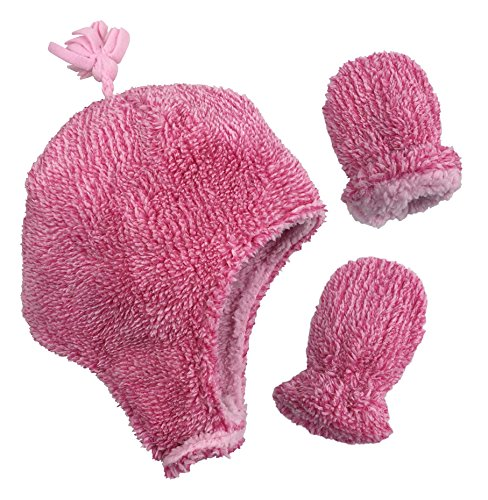 N'Ice Caps Little Girls and Baby Soft Sherpa Lined Micro Fleece Pilot Hat and Mitten Set (Fuchsia Fuzzy Infant, 6-18 Months)