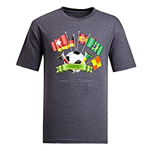 Custom Mens Cotton Short Sleeve Round Neck T-shirt, Printed with World Cup Images gray