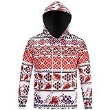 ღ Ninasill ღ Mens Autumn&Winter Printed Long Sleeve Hooded Sweatshirt Tops Blouse (XXXL, Red)