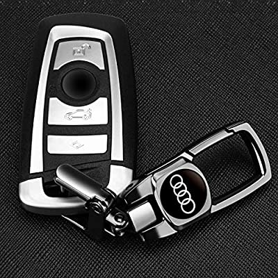 Feeke Car Wheel Tire Valve Stem Air Caps Cover and Keychain Combo Set Total 6pcs for Audi s6 rs tt q5 q7 a3 a4 a6 r8 q3: Automotive