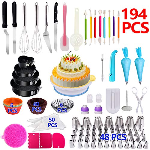 Cake Decorating Supplies,194 PCS Complete Baking Set with 4 Packs Springform Pan Sets,136 PCS Decorating Kits and 6 Muffin Cup Molds, Perfect Cake Baking Supplies for Beginners and Cake Lovers.]()