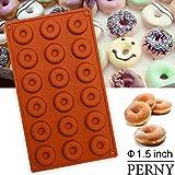 PERNY Mini Donut Pan, 18-Cavity Nonstick Silicone Donut Pan