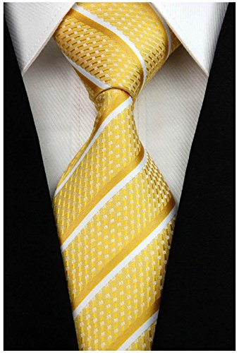 w3dayup mens Classic Plaid Tie Necktie Woven Jacquard Neck Light Yellow Stripe Ties For Men BBR016