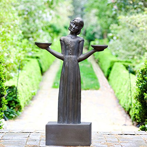 "Potina Outdoor Garden Sculpture - Savannah's Bird Girl Statue (Small - 15"")"