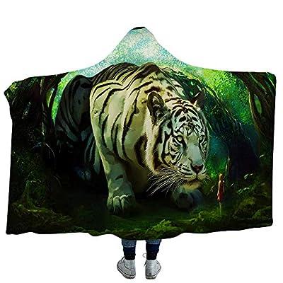 YJZ Tiger 3D Hooded Blanket Soft Sherpa Fleece Blankets for Adults Cozy Bathrobes Cloak Hood Bath Blanket with Hood,1,Kids