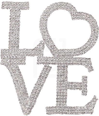 Love Cake Topper, Marriage, Wedding Vow, Anniversary, Bridal Shower Crystal Rhinestones on Silver Metal, Party Decorations, - Swarovski Crystal Wedding Cake
