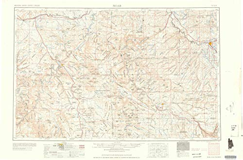 YellowMaps Moab UT topo map, 1:250000 Scale, 1 X 2 Degree, Historical, 1960, 22 x 33.3 in - Polypropylene