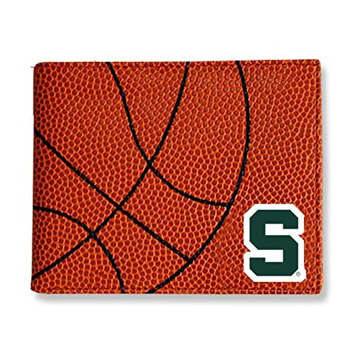 Zumer Sport Michigan State Spartans Basketball Leather Bifold Wallet - Made from Actual Ball Materials - Many Slots for Cards - Great for Men or Boys - Orange