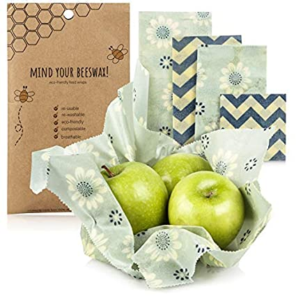Mind Your Beeswax - Beeswax food wrap, reusable food wrap | 4 piece variety  pack (1 large, 2 medium, 1 small) | 100% biodegradable, organic, beeswax