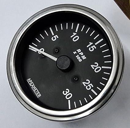 12V Chrome Tachometer//Hourmeter 0-3000 RPM Magnetic pickup Sensor Driven
