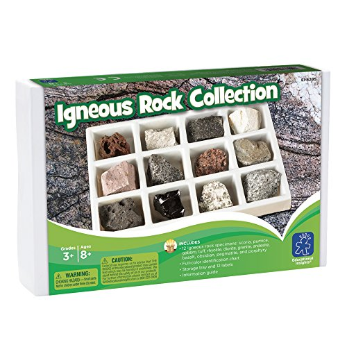 Educational Insights Igneous Rock Collection, Ages 8 and up, Set of 12 Handpicked Specimens in a Storage Tray