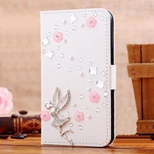 White Luxury 3D Fashion Handmade Bling Diamond PU Flip Leather Case Cover For Smart Mobile Phones 8 (Samsung Galaxy Note Edge , Angle)