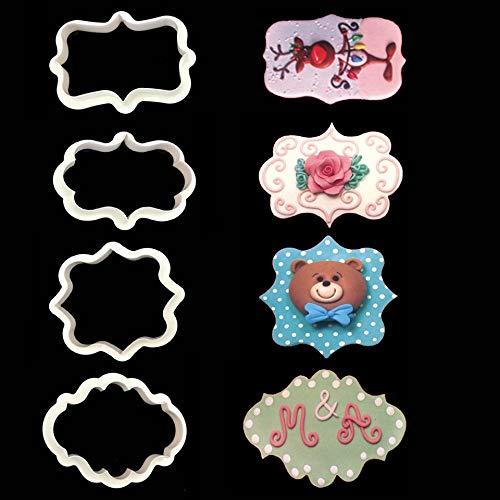 4Pcs Vintage Plaque Frame Cookie Cutter Set Plastic Biscuit Mold Mould 3D Molds Biscuits Moulds Fondant Cake Decorating Decorations Designs Tools Sugarcraft Baking