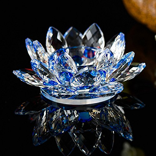 MSOO 7 Colors Crystal Glass Lotus Flower Candle Tea Light Holder Buddhist Candlestick (D)
