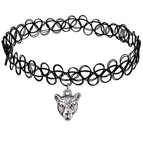 - Sinlifu Vintage Tattoo Pendant Choker Necklace Stretch Gothic Tattoo Henna Elastic Retro Collar 90s (Tiger Head #9)