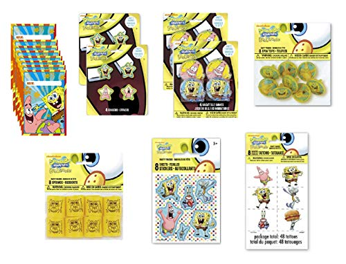 - SpongeBob SquarePants Birthday Party Favor Bundle for 8 Includes Loot Bags, Tattoos, Stickers, Spin Tops, Erasers, Bagatelle Games, Springs - 56 Pieces