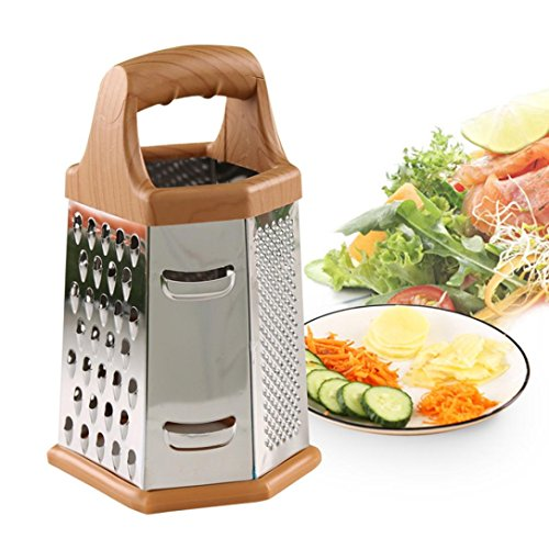 LiPing 8 Inch Six Sided Simple Type Kitchen Graters - Kitchen Spiral Slicer Vegetable Shred Carrot Radish Cutter FunctionalVegetable Veggie Chopper (A)