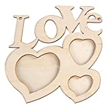 Gbell Fashion Hollow Love Wooden Photo Frame Home DIY Decor, Picture Frame Art Decor White Base Kids,Adults DIY (White)