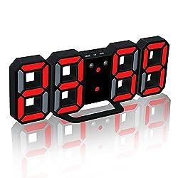 ECVISION Jumbo Digital LED Wall Clock, Electronic Big Digital 3D LED Table Desk Clock Watches 24/12 Hour Display Alarm Snooze Multi-Functional Led Clock LED Brightness Automatically (Black, Red)