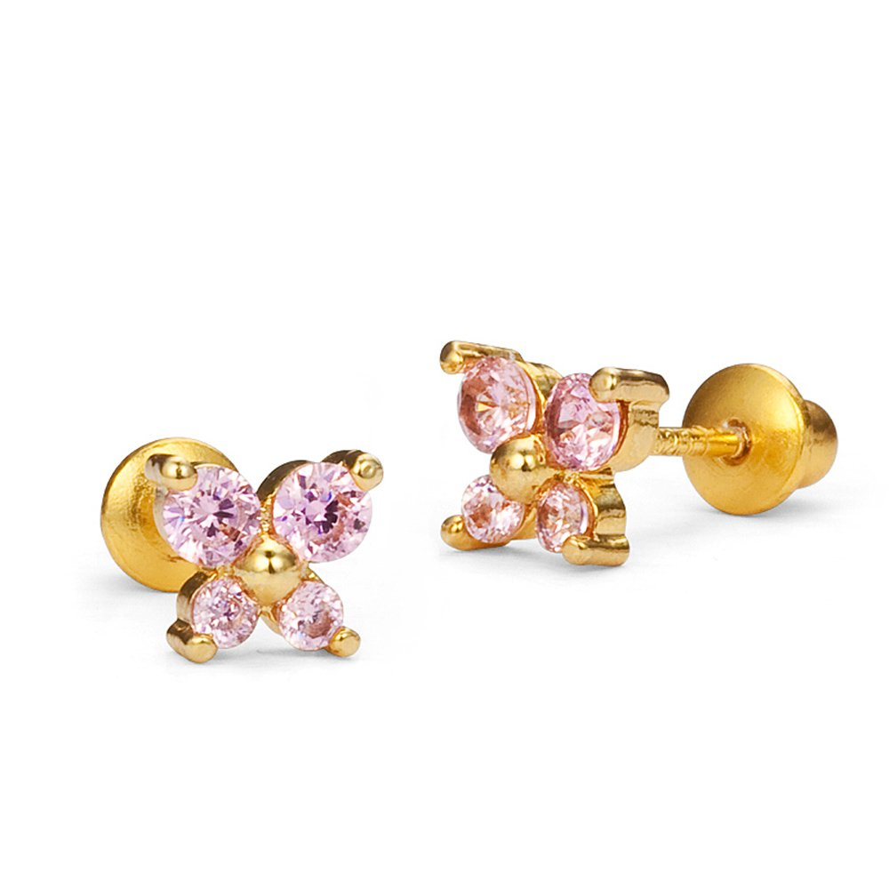 14k Gold Plated Brass Pink Baby Butterfly Screwback Girls Earrings with Sterling Silver Post Lovearing BE860-10