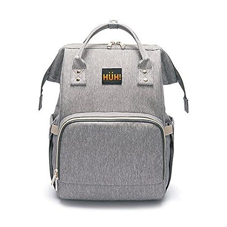 HÜH! - Mochila para padres - bolsa de pañales - portapapillas - 2 bolsillos térmicos para biberones - ganchos, para silla de paseo - 1 bolsillo para ...