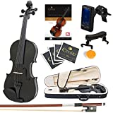 Mendini Size 3/4 MV-Black Solid Wood Violin with Tuner, Lesson Book, Shoulder Rest, Extra Strings, Bow and Case, Metallic Black