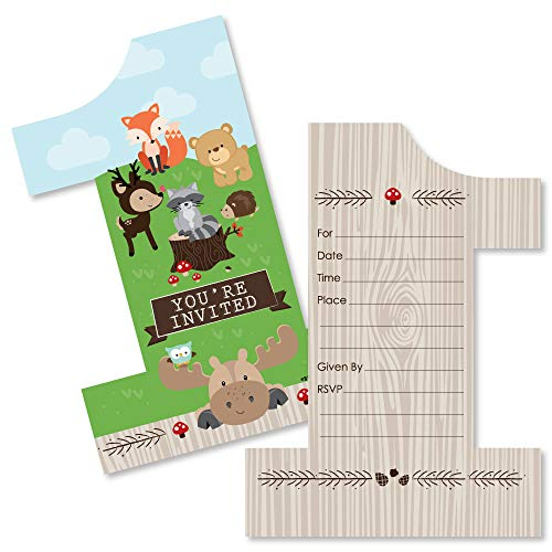 1st Birthday Invite - 1st Birthday Woodland Creatures - Shaped Fill-in Invitations - First Birthday Party Invitation Cards with Envelopes - Set of 12