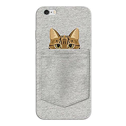 iPhone 8 Handyhülle Schutzhülle Hülle Silikon Cover Case Ultra Dünn Slim Backcover TPU transparent Katze in der Tasche