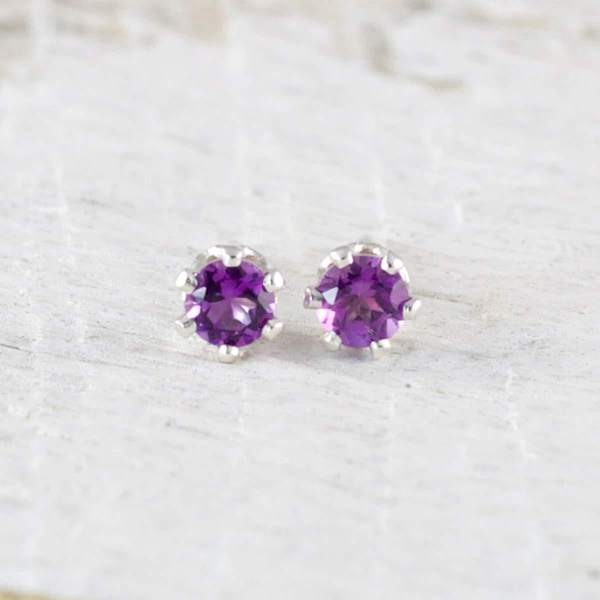 Birthday Gift Silver Dangle Earrings SE03 Natural Amethyst Earring 925 Sterling Silver Earring Purple Earrings February Birthstone