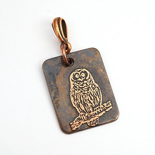 Rectangular copper owl on branch pendant, flat metal etching, 25mm