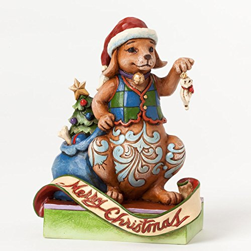 Jim Shore Unleash Christmas Joy Merry Christmas Dog Holding Cat Figurine (Cat Shore Tall Jim)