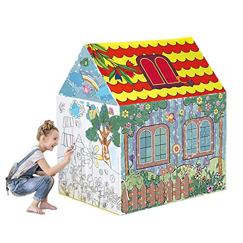 Zehaer Toy House, Baby Kids Playpen Ball Pit Pool Game House Toy Indoor Game House Graffiti Painting Fold Princess Tent. ()