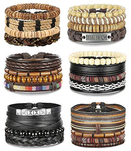 FIBO STEEL 10-26 Pcs Braided Leather Bracelets for Men Women Cool Wrist Cuff Bracelet Adjustable